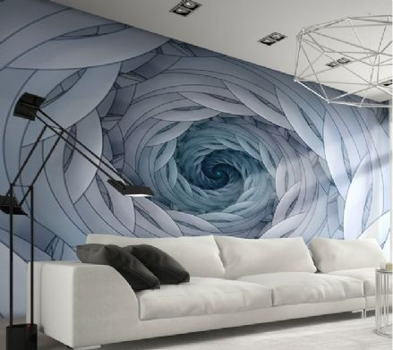 Blue Swirls Abstract design giant wall mural